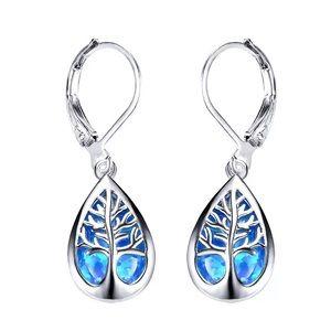 Blue fire opal new silver dangle pierced earrings